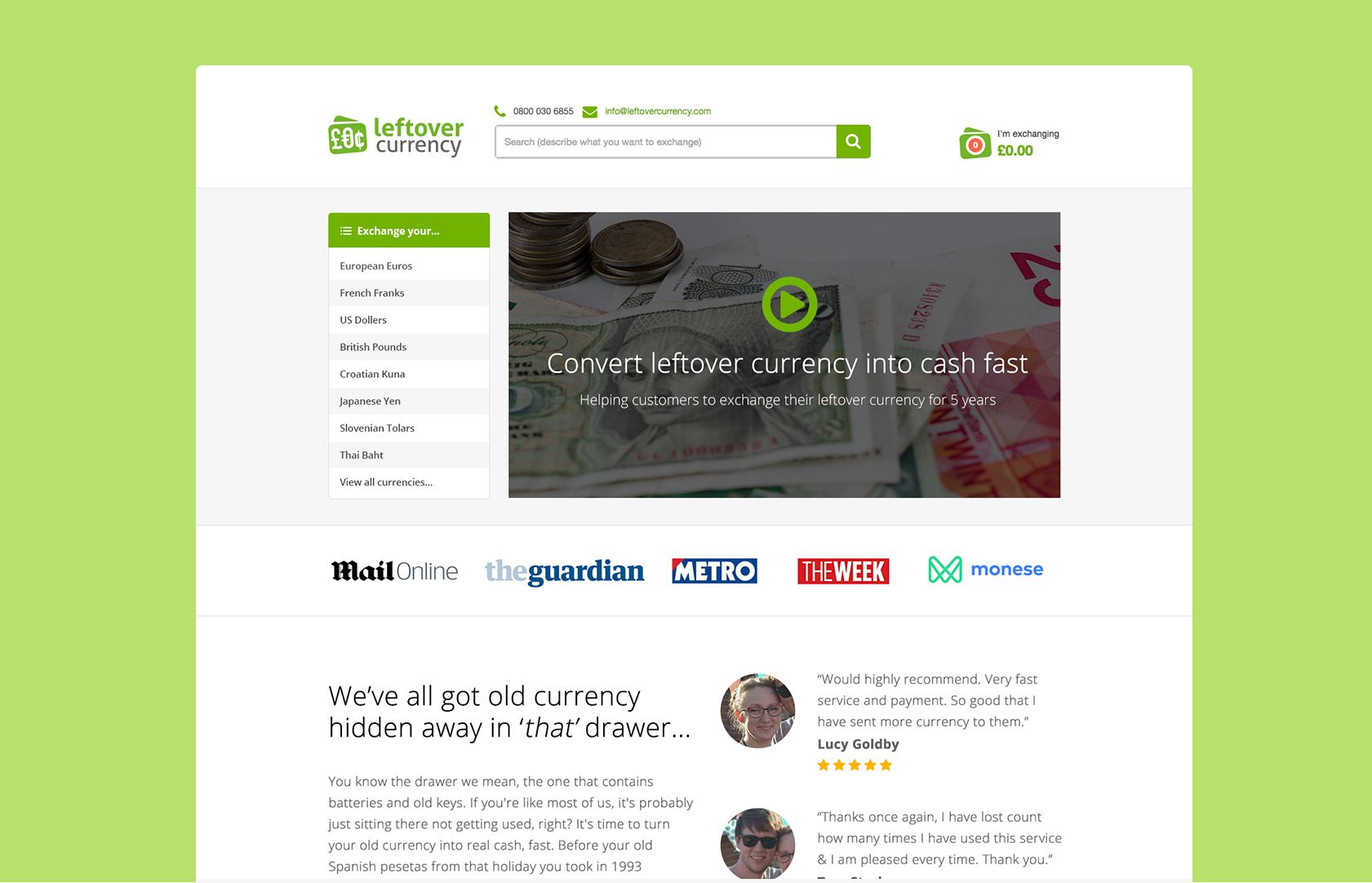 Left over currency home page